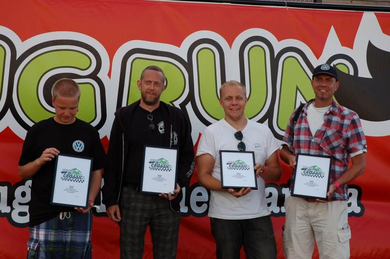Tack till juryn, som under ledning av Lars Eriksson (t h) från Volkswagenhistoriska klubben utsett Bug Run Classic-vinnarna.